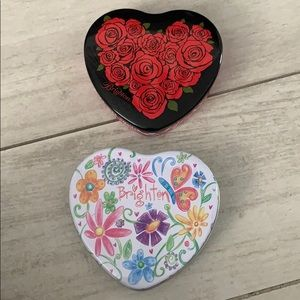 Set of 2 Brighton Large Heart Tin Containers